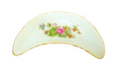 Vintage Bone Dish Japan Decorative Crescent Floral Porcelain Trinket Flower
