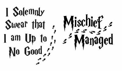 mischief i solemnly harry potter inspired Vinyl Decal Stickers Wine Glass