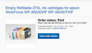 Empty Refillable 27XL ink cartridges for epson WorkForce WF-3620