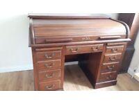 Edwardian Mahogany Roll-Top Desk / Authentic / Antique Wood Desk