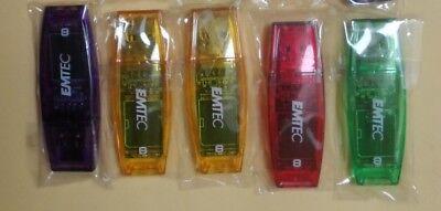 LOT 5x 5pc EMTEC 8GB USB Flash Drive Stick Thumb memory Pen with LED