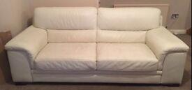 Cream leather three piece suite from harveys