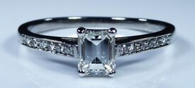 IGI Certified 18k White Gold 0.56ct Diamond Emerald Accent Engagement Ring (Rox) rrp £3,500.