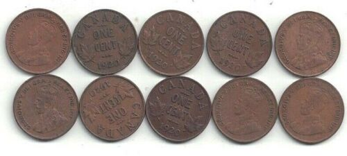 Ten, 1920 Canada Circulated George V 1-cent Coins -- A  Very Nice Group ~