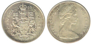 50 cent 1965 Silver Canadian Coin for sale