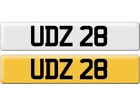 *UDZ 28* Dateless Personalised Cherished Number Plate Audi BMW M3 Ford VW Caddy Mercedes Vauxhall