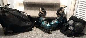 """Adult Quality """"Like New"""" Roller Blades size 10 - carry case/pads"""
