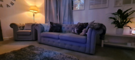 Gorgeous DFS 3 SEATER CHESTERFIELD SOFA AND CHAIR