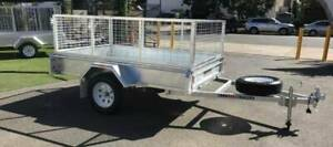 7x5 Gal Box Trailer with cage, spare wheel and 6 months rego