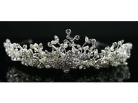 Silver crystal and butterfly tiara in perfect condition in box