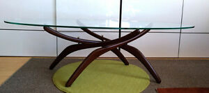 Adrian Pearsall Mid Century Modern Oval Glass Top Coffee Table