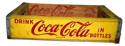 1964 Coca-Cola Wooden Coke Crate Carrier Box Chattanooga Yellow Soda Pop Case