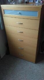 Narrow chest of drawers - solid Beech. Good as new.