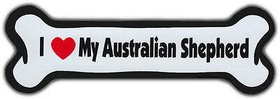 Dog Bone Magnet  I Love My Australian Shepherd   Dogs Doggy Puppy   Car