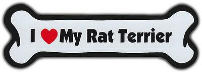 Dog Bone Magnet: I Love My Rat Terrier | For Cars, Refrigerators, More