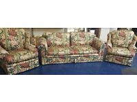 **FREE** 3 Piece Floral Suite - 2 x Single Armchairs and 1 x 3 Seater (#159)