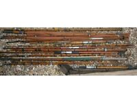 lot of old fishing rods