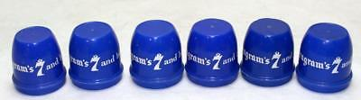 "Lot os 6 Vintage ""Say Seagram's 7 & be Sure"" Plastic Snap-on Stopper Bottle Caps"