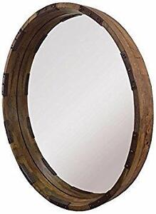 Industrial Mirror - Natural wood/Distressed Black metal HUGE SALE