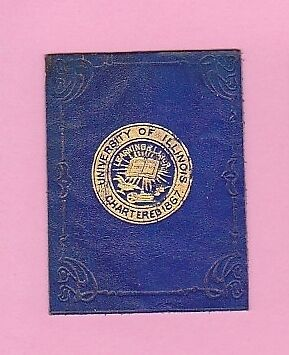 c1910s tobacco leather  UNIVERSITY OF ILLINOIS gilted college seal  Nice!!