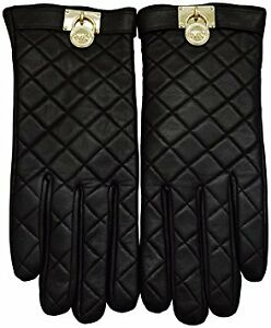 NEW-MICHAEL KORS Quilted Hamilton Silver Lock Gloves