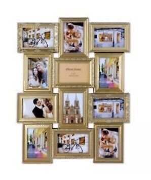 Multi photo frame gold- new