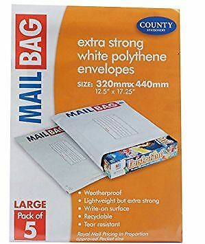 County Extra Strong White Polythene Envelopes Mailing Bags - Large - 320 x 440mm