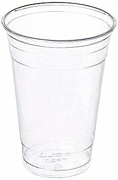 Plastic Coffee Cups With Lids (100 Sets 20 oz Plastic CLEAR Cups with Flat Lids for Iced Coffee Bubble)