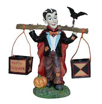BNIB Four Seasons Poly Stone Halloween Figurine, Dracula with Candy Buckets ()