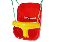 Plum Swing Seat - Red/Yellow with Green rope