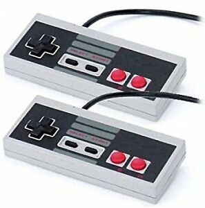 NES 2 controllers and games