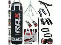 RDX 16 Piece Boxing Set 5FT Filled Heavy Punch Bag Gloves