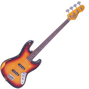 VINTAGE ICON VJ96 MR ROADWORN FRETLESS JAZZ BASS INSPIRED BY JACO PASTORIUS -NEW