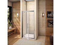 900mm Pivot Hinge Shower Door 6mm Toughened glass Reversible Design in original packaging unopened