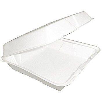 Dart 85HT1R, 8x8x3-Inch One Compartment Foam Containers with Hinged Lid, 50 ()