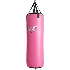 Pink punchbag with wall bracket