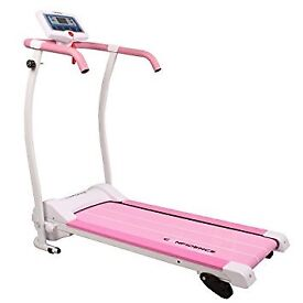 Pink and white electric treadmill