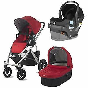 Red Uppababy Vista Stroller-bassinet-car seat-adapter ......