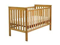 East Coast Drop Side Cot Bed 120 x 60 with Mattress + extras