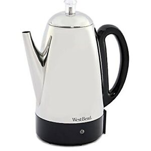 West Bend 54159 Classic Stainless-Steel 12-Cup Percolator, Silve