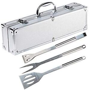 Stainless Steel Grill Tool Set - 3-Piece Set in Aluminium Case