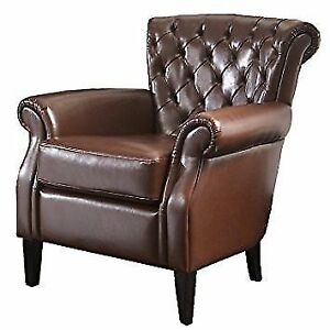 Franklin Bonded Leather Club Chair, Brown *Brand New **