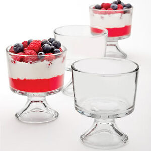 Set of 4 Sundae Glasses, Glass Dessert Dishes , Glass Trifle Punch Bowl