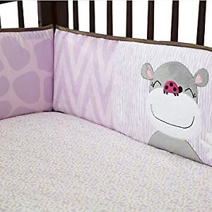 Crib bumper pads, skirt and hanging diaper caddy