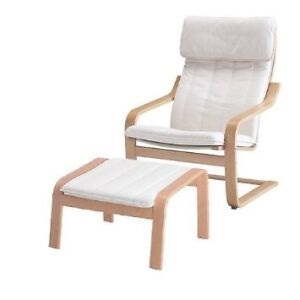 IKEA Poäng white armchair and footstool