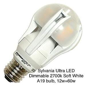 10 Light Bulbs - Sylvania Ultra LED Dimmable Soft White, 12w=60w