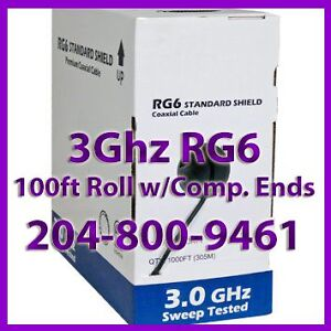 ★ 100FT RG6 Cable w/ Compression Connectors 204-800-9461 ★