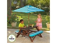 KidKraft Picnic Table with Bench, Cushion and Umbrella Wooden Garden Bench
