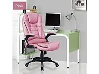 'Life Carver' Executive Reclining Swivel Office Chair - Pink Faux Leather. Good Condition.