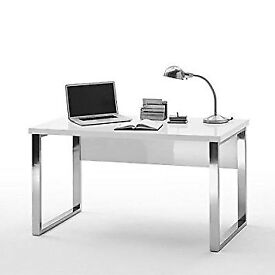 4 Sydney Office Desk in High Gloss White Top and Chrome Frame